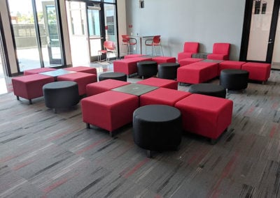 Red and black reception area seating