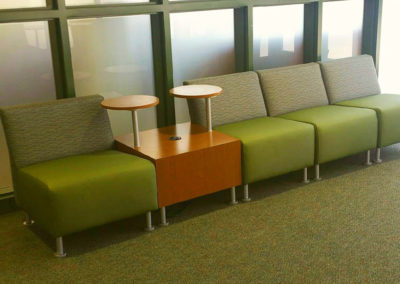 Green reception seating with side table